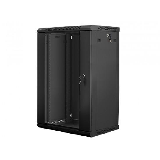 """15U pakabinama spinta, 600x600, 19"""", juoda, stiklinės rakinamos durys, nuimami šonai"""