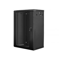 """22U pakabinama spinta, 600x450, 19"""", juoda, stiklinės rakinamos durys, nuimami šonai"""