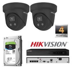 Hikvision 2 IP kamerų 4MP vaizdo stebėjimo sistema IPkit2 (juoda)