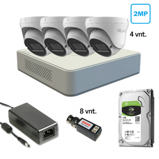 2 MP Keturių kamerų TURBO HD komplektas