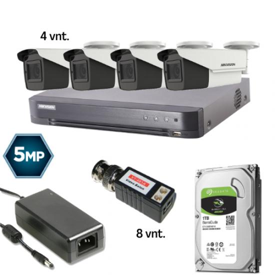 5 MP Keturių kamerų TURBO HD ZOOM komplektas
