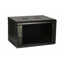 """4U pakabinama spinta 600x450, 19"""", juoda, stiklinės rakinamos durys, nuimami šonai"""