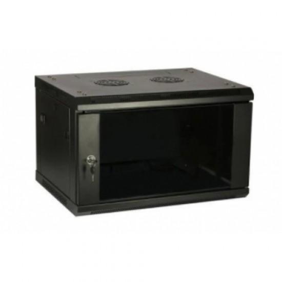 """6U pakabinama spinta, 600x450, 19"""", juoda, stiklinės rakinamos durys, nuimami šonai"""