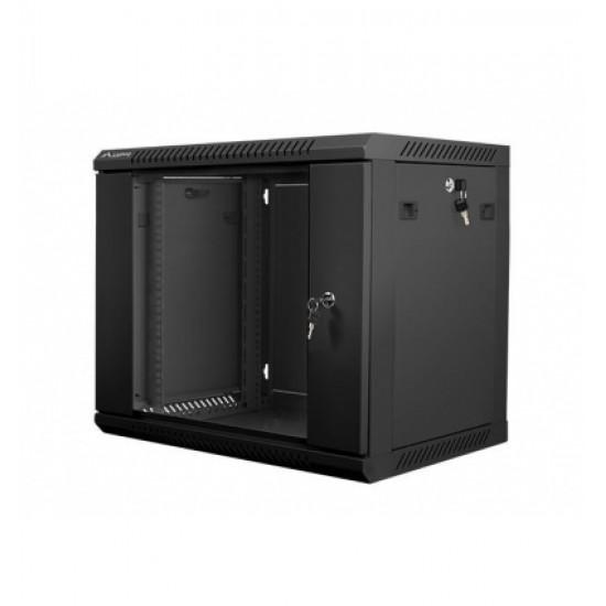 """9U pakabinama spinta, 600x450, 19"""", juoda, stiklinės rakinamos durys, nuimami šonai"""