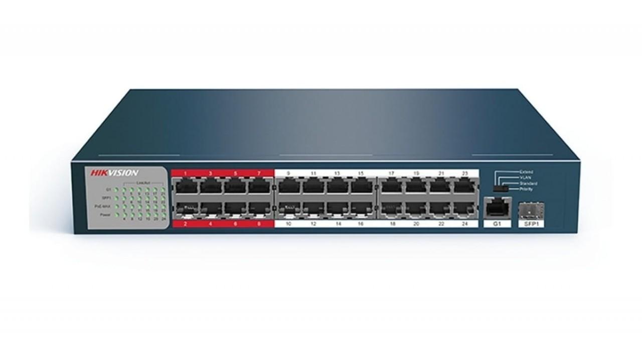 Hikvision 26 prievadų 24 PoE prievadų komutatorius DS-3E0326P-E/M(B)
