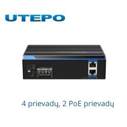 4 prievadų, 2 PoE prievadų pramoninis komutatorius UTEPO UTP7202GE-POE