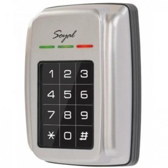 Soyal AR-321H durų valdiklis su klaviatūra ir atstuminių kortelių skaitytuvu, metalinis korpusas, Mifare 13,56Mhz