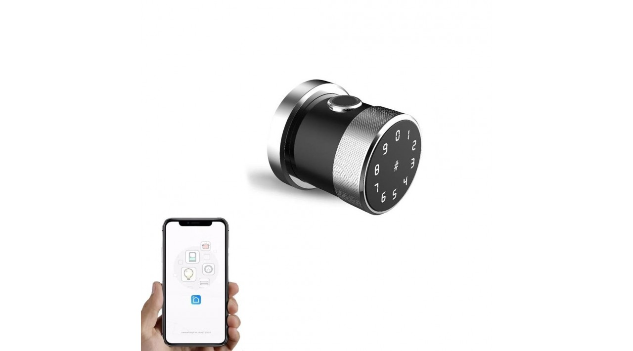Išmanioji durų rankena iNOVO Bluetooth ROUND Sidabrinė