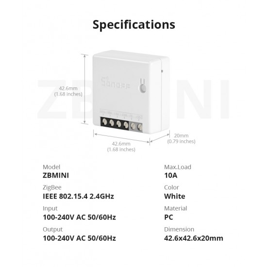 Išmanusis jungiklis SONOFF ZBMINI, 2200W, 230VAC