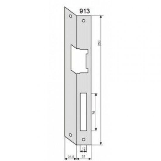 Elektromagnetinės sklendės montavimo plokštelė, 250 mm., dešininė, kampu